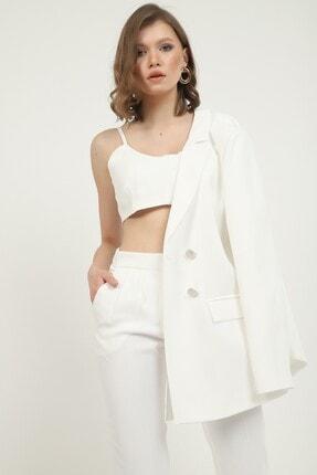 MANGOSTEEN Kadın Takım Elbise, Bustiyerl Uzun Ceket Ve Fit Pantolon,