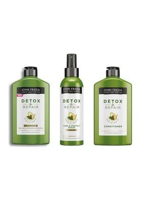 John Frieda Şampuan Detox Repair 250 ml + Saç Bakım Kremi Conditioner 250 ml + Saç Koruma Spreyi 200 ml