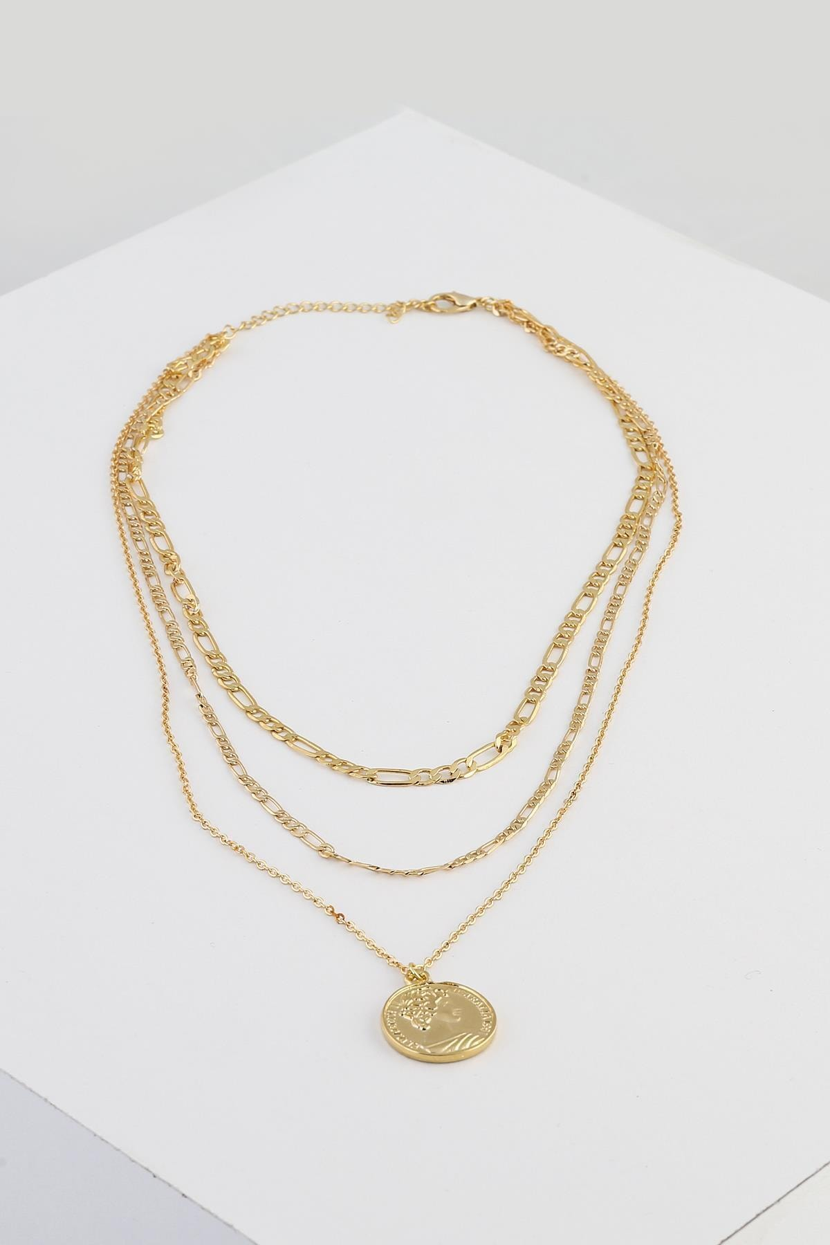 New Obsessions Kadın Altın 3 Sıralı Madalyon Uçlu Kolye Seti 1