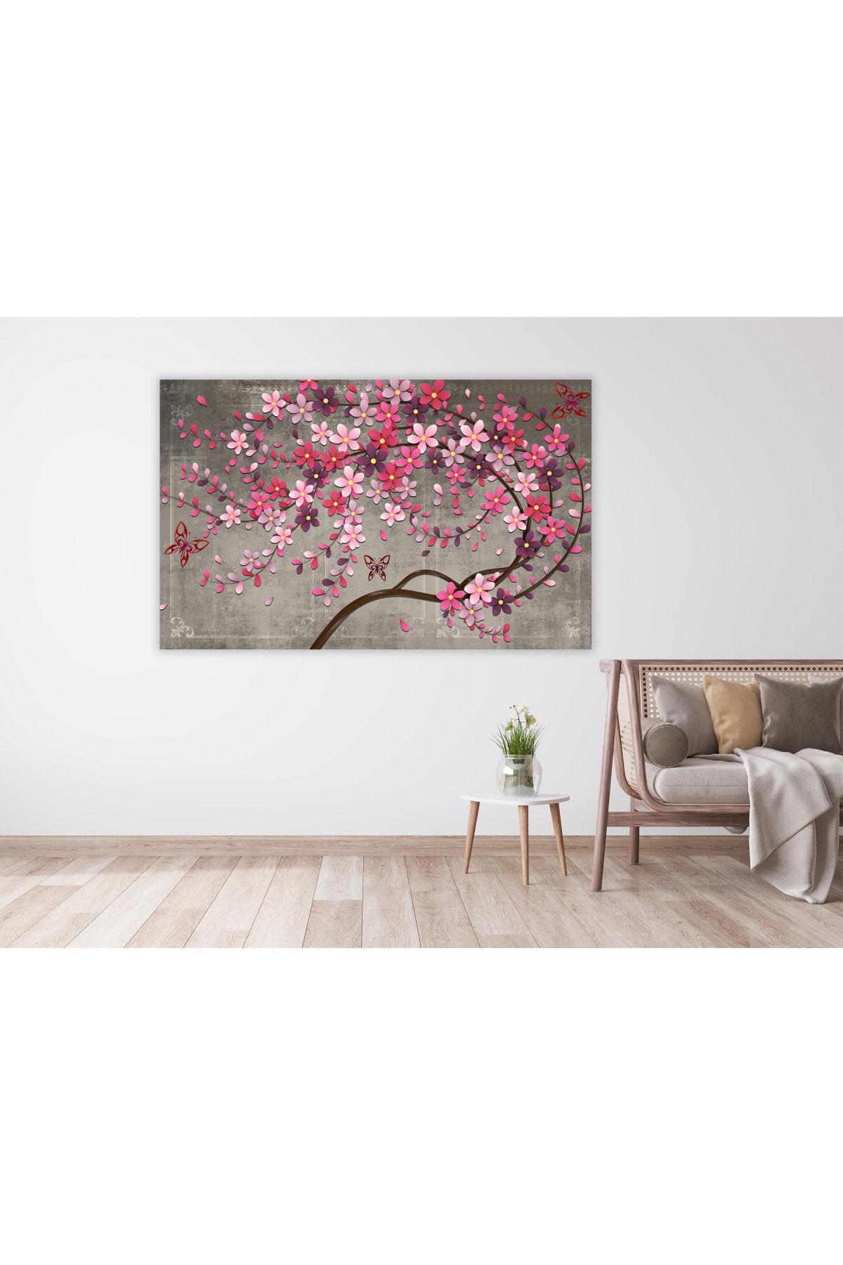 Zeta Aks Mor Çiçekli Ağaç Tek Parça Cotton Canvas Tablo 1