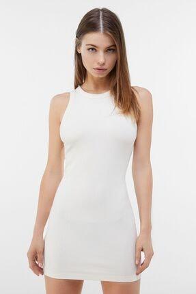 Bershka Kadın Beyaz Fitilli Mini Elbise