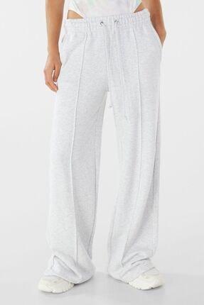 Bershka Kadın Gri Wide Leg Pamuklu Pantolon