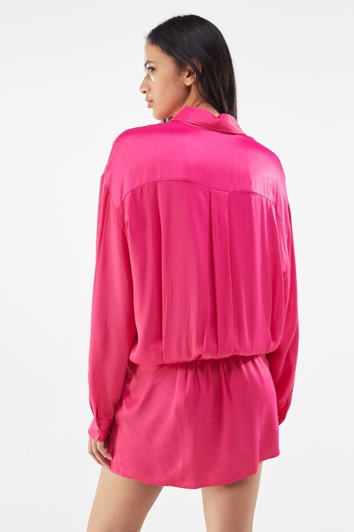 Bershka Kadın Fuşya Saten Gömlek Elbise 2
