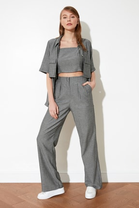TRENDYOLMİLLA Antrasit Geniş Paça Pantolon TWOSS21PL0165