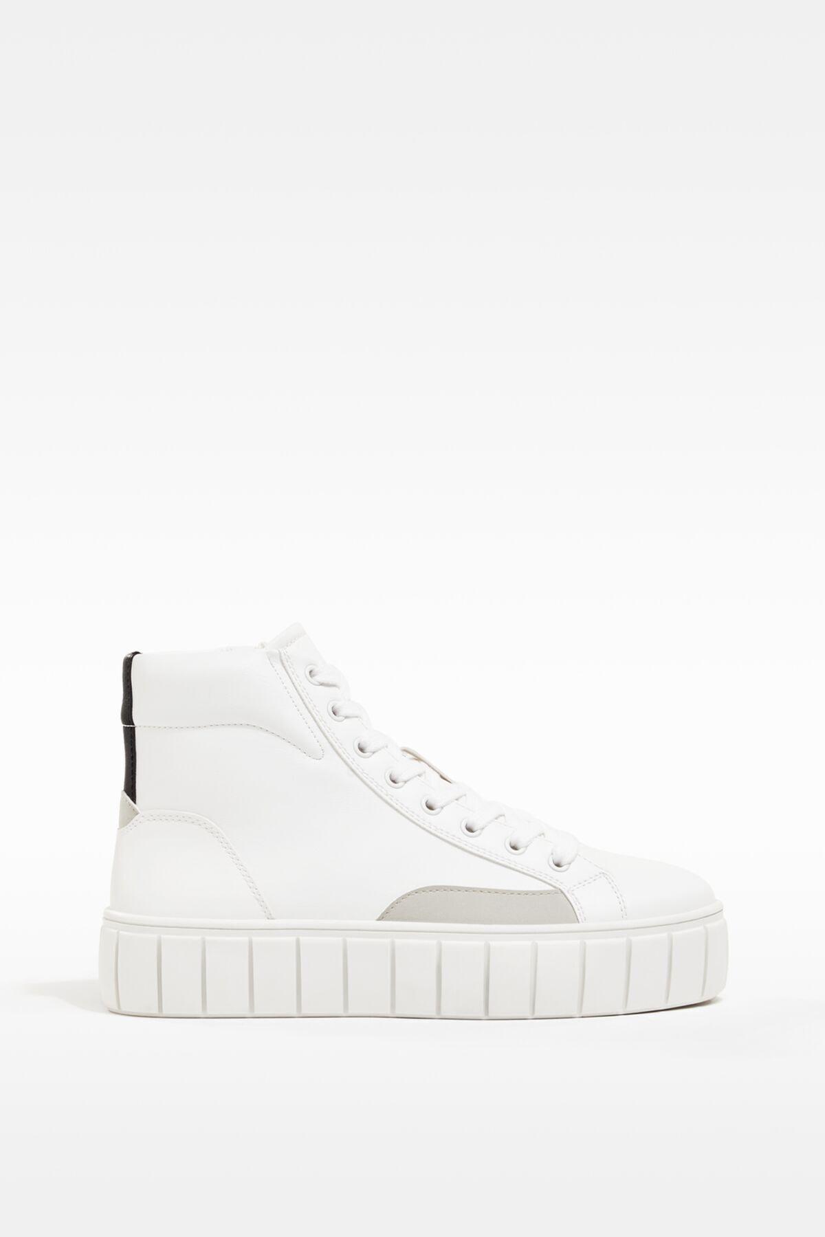Bershka Kadın Beyaz Platformlu Yüksek Bilekli Spor Ayakkabı 1