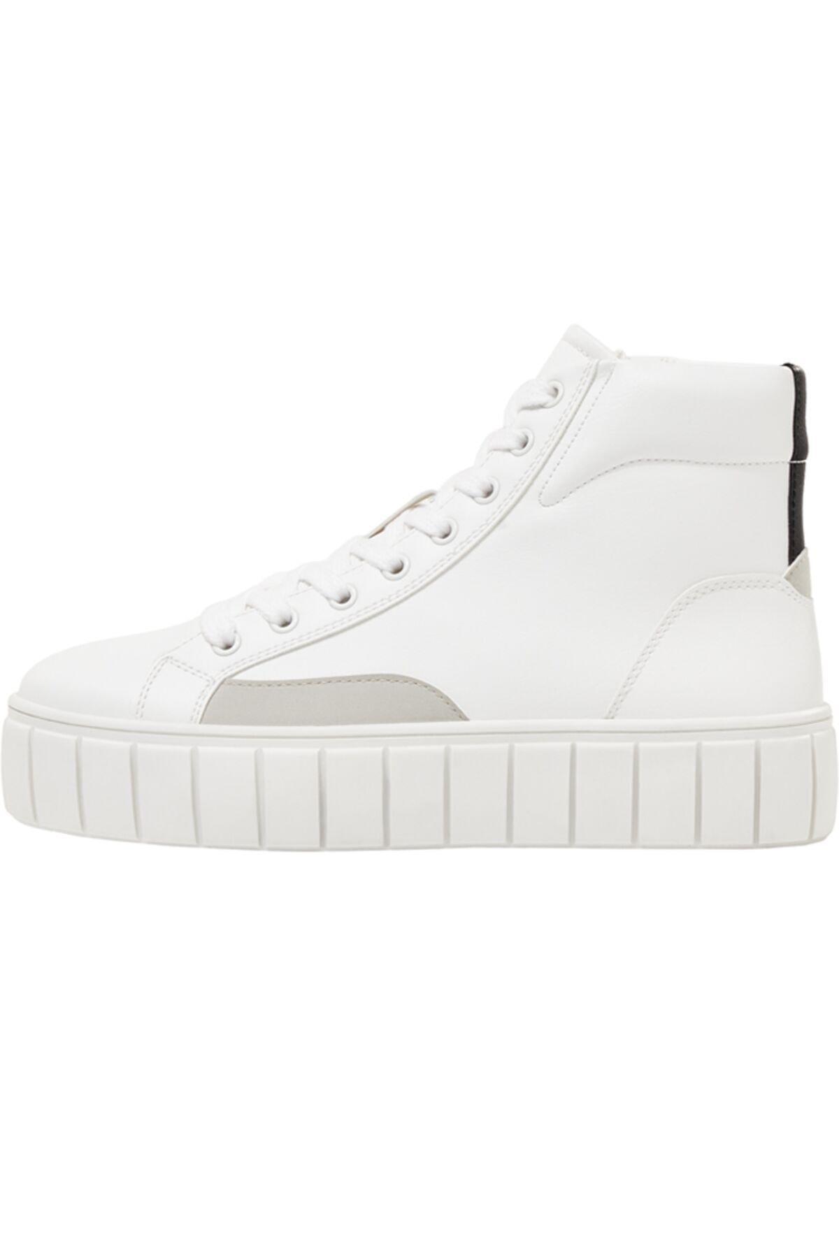 Bershka Kadın Beyaz Platformlu Yüksek Bilekli Spor Ayakkabı 2