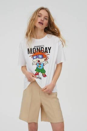 Pull & Bear Rugrats It's Monday Sloganlı T-shirt