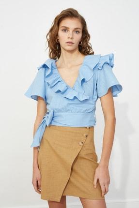 TRENDYOLMİLLA Mavi Volanlı Bluz TWOSS20BZ0351