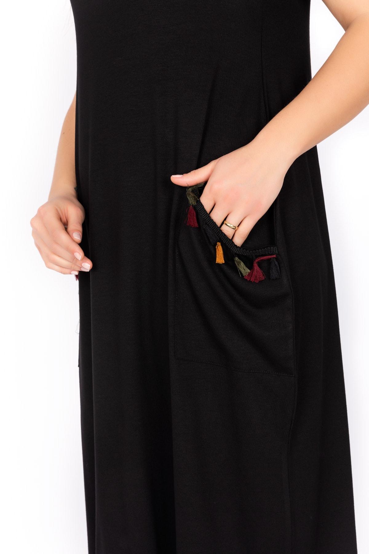 Kardelen Butik Ümraniye Kadın Siyah Kısa Kollu Viskon Penye Elbise 2
