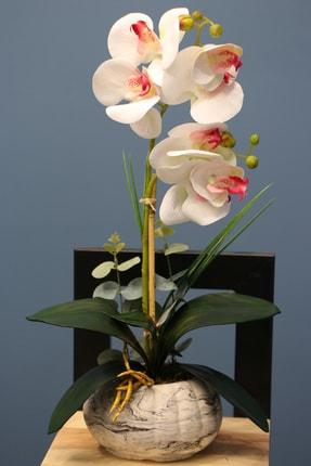 Yapay Çiçek Deposu Beyaz-Pembe Dekoratif  Mini Yapay Islak Orkide Tanzimi 45 Cm 2li