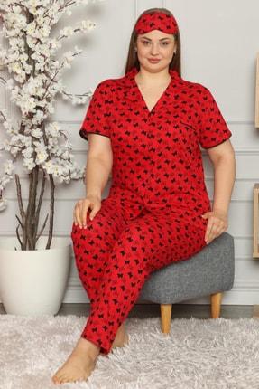 PİJAMAWOME Kadın  Kırmızı Büyük Beden Pamuklu Önden Düğmeli Battal Yazlık Pijama Takımı