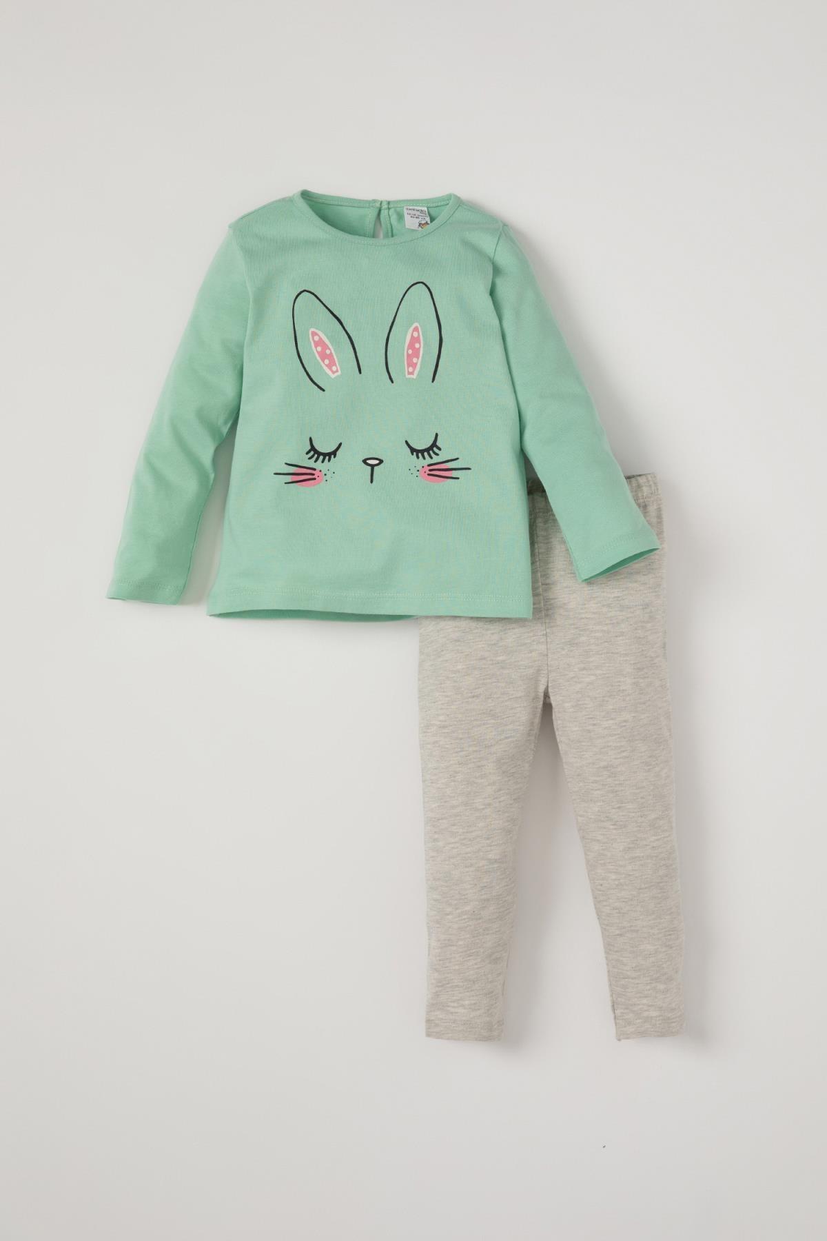 DeFacto Kız Bebek Tavşan Baskılı Pamuklu Tişört Ve Tayt Takımı