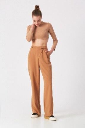 Robin Kadın Camel Bel Detaylı Pantolon