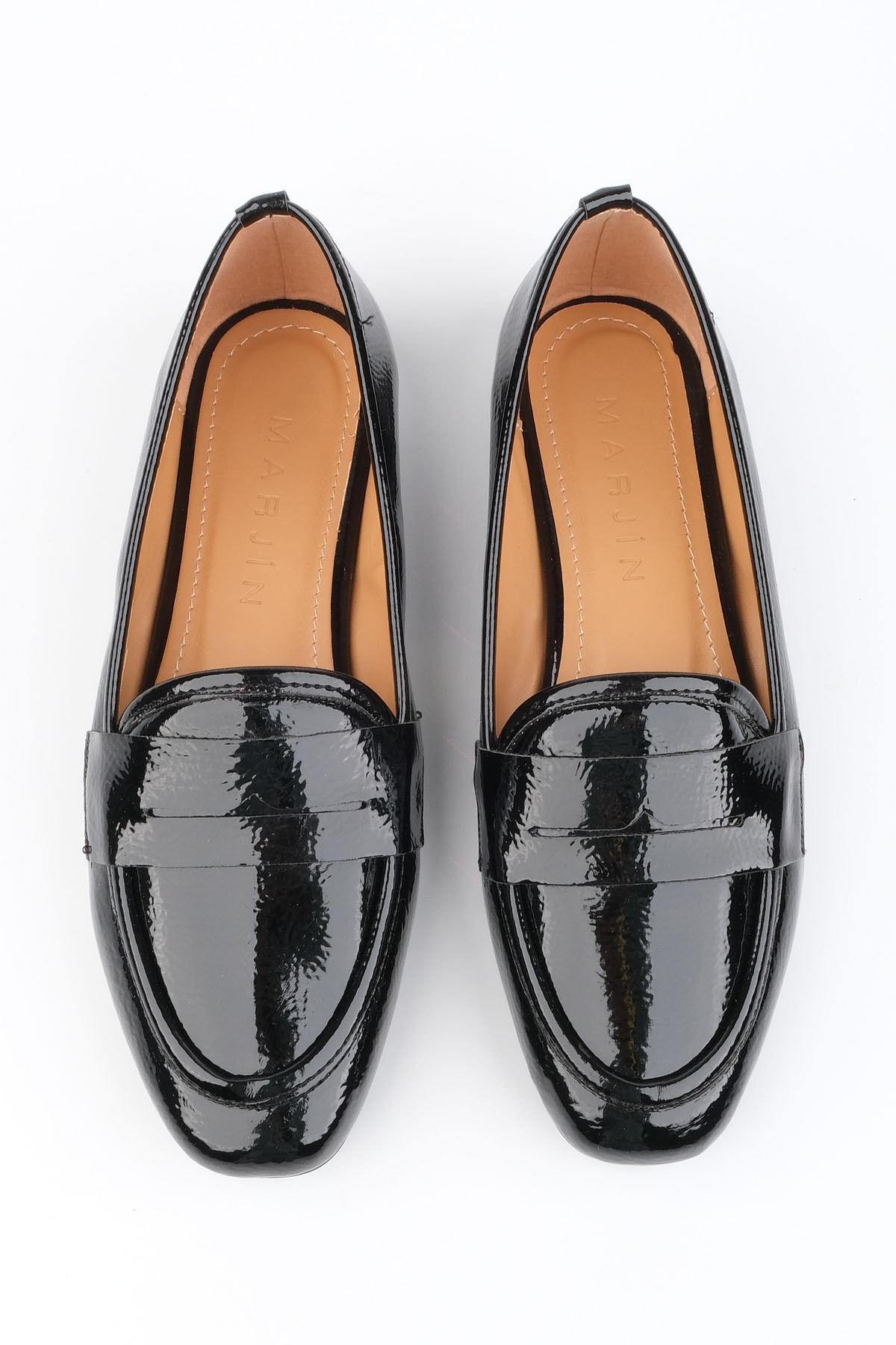 Marjin Kadın Siyah Rugan Loafer Ayakkabı Munle 2