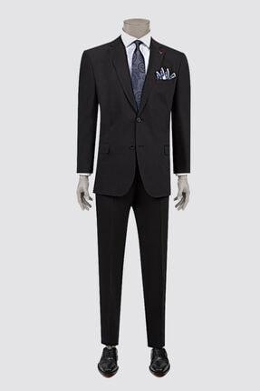 D'S Damat Erkek Siyah Comfort Düz Takım Elbise