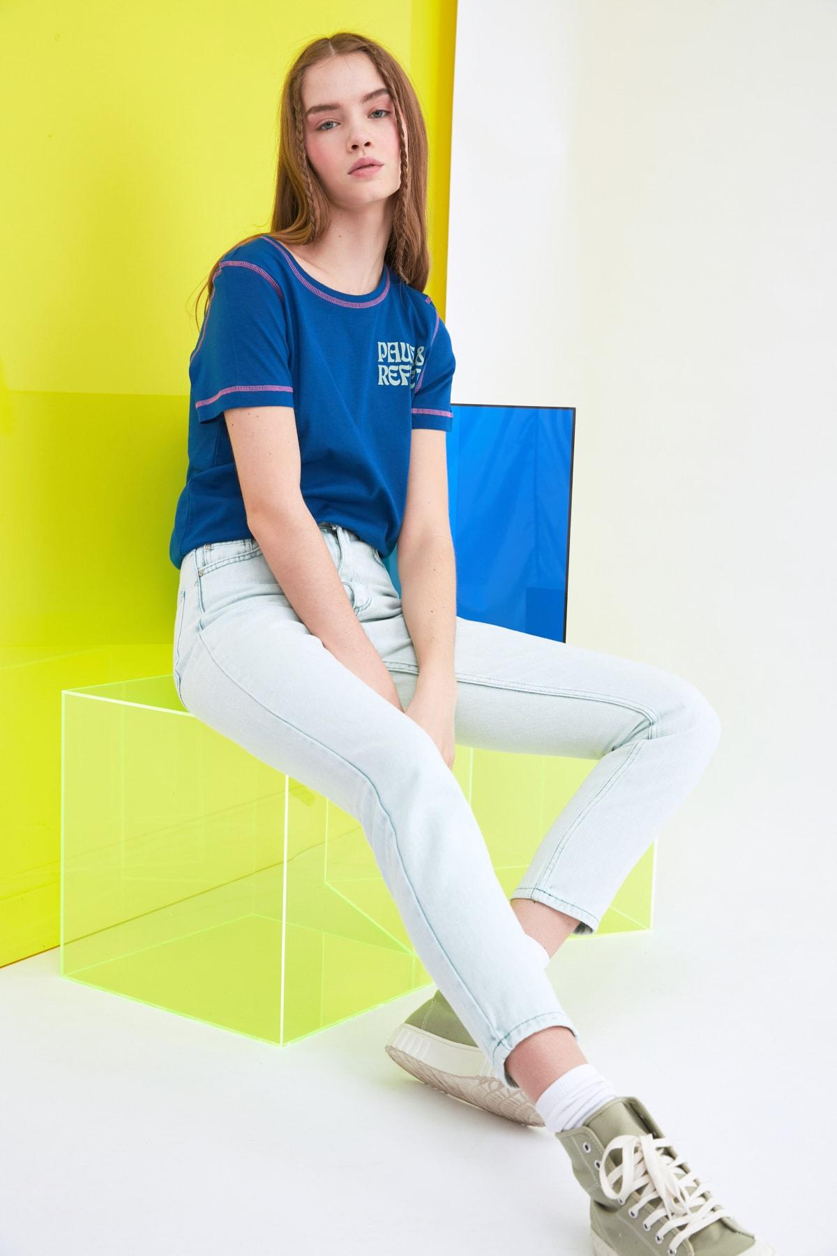 TRENDYOLMİLLA Mint Yüksek Bel Mom Jeans TWOSS21JE0172 1