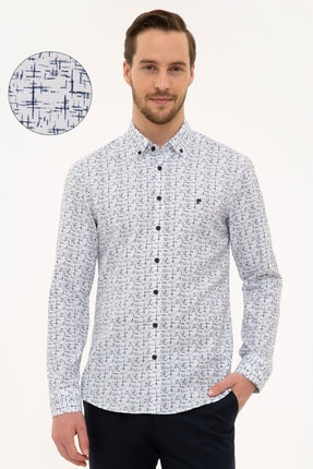 Pierre Cardin Erkek Lacivert Slim Fit Gömlek G021GL004.000.1113653