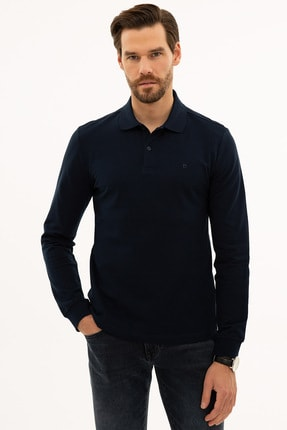 Pierre Cardin Erkek Lacivert Slim Fit Polo Yaka Sweatshirt G021GL082.000.1208969