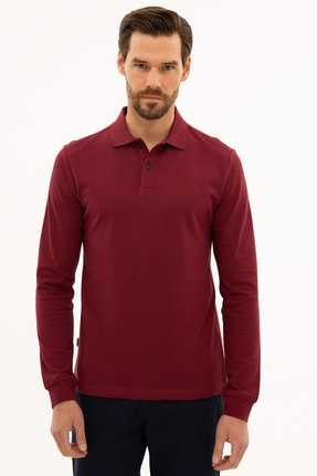 Pierre Cardin Erkek Bordo Slim Fit Polo Yaka Sweatshirt G021GL082.000.1208969