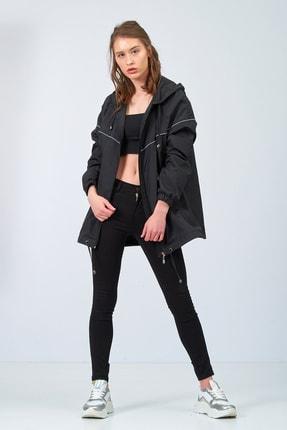 Moda Tuğram Kadın Siyah Yağmurluk