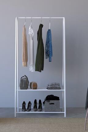 Tedarikcenter Metal Konfeksiyon Askısı Ayaklı Askılık Elbise Askılı 2 Raf Bölmeli