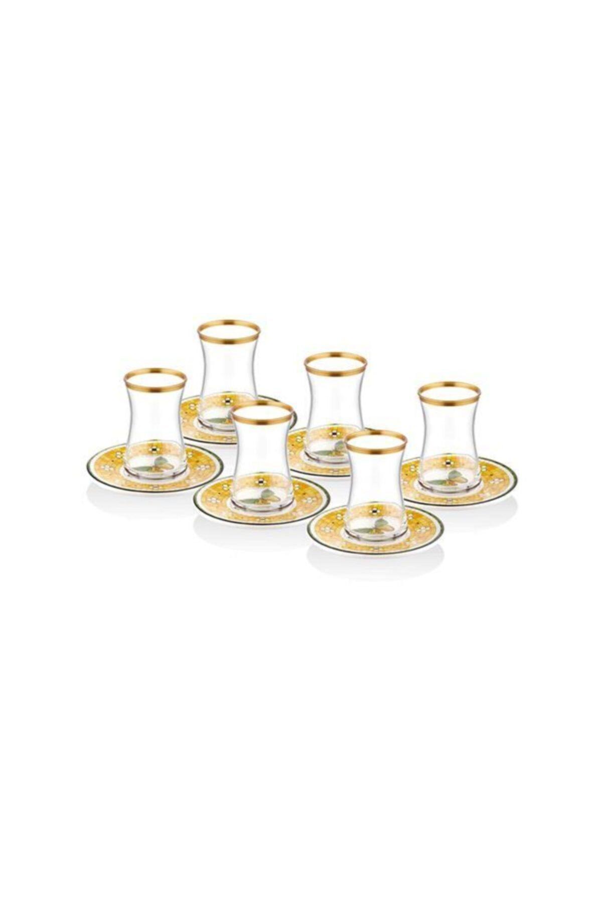 The Mia Patio Stoneware Sarı 12 Parça Çay Bardak Seti Pat0005 1