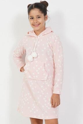 VİENETTA Kız Çocuk Pembe Polar Uzun Kol Beden Açık Tunik