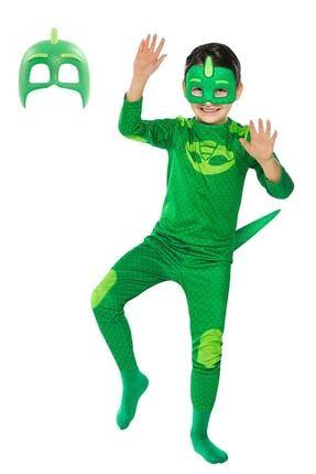 Gökmen Tekstil Pijamaskeliler Kertenkele Çocuk Kostüm 2 Maskeli Pj Masks Kostümü Yeşil