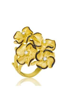 Gumush Kadın Gümüş Sarı Çiçek Yüzük