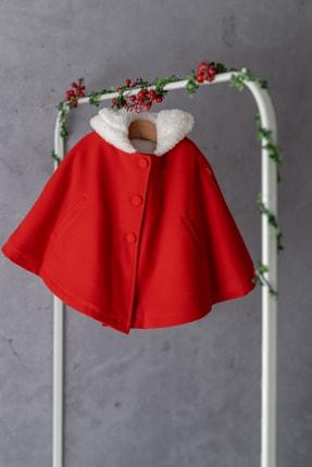 Zeyland Kız Çocuk Kırmızı Cepli Peluş Astarlı Pelerin 1-4 Yaş