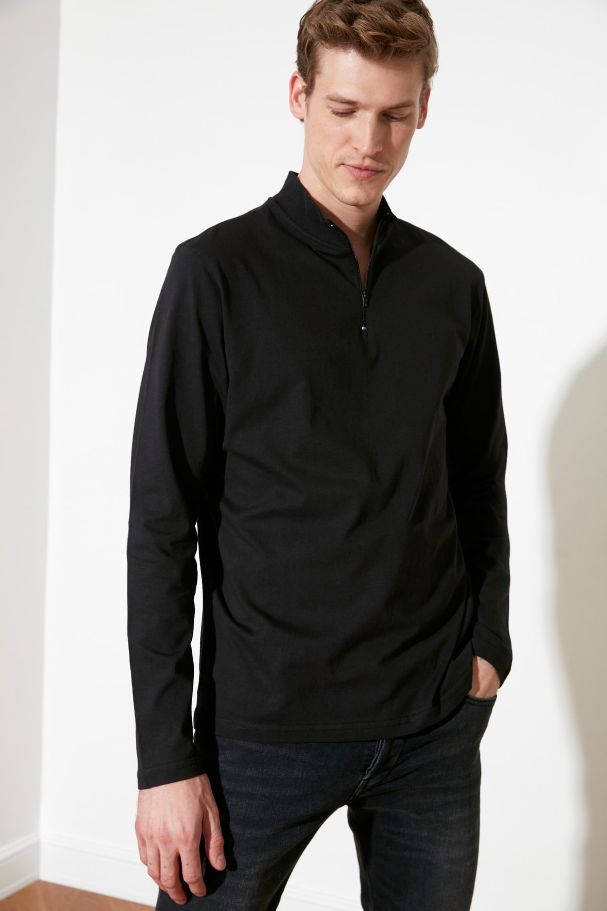 TRENDYOL MAN Siyah Erkek Uzun Kollu Slim Fit T-Shirt TMNSS20TS0017 2