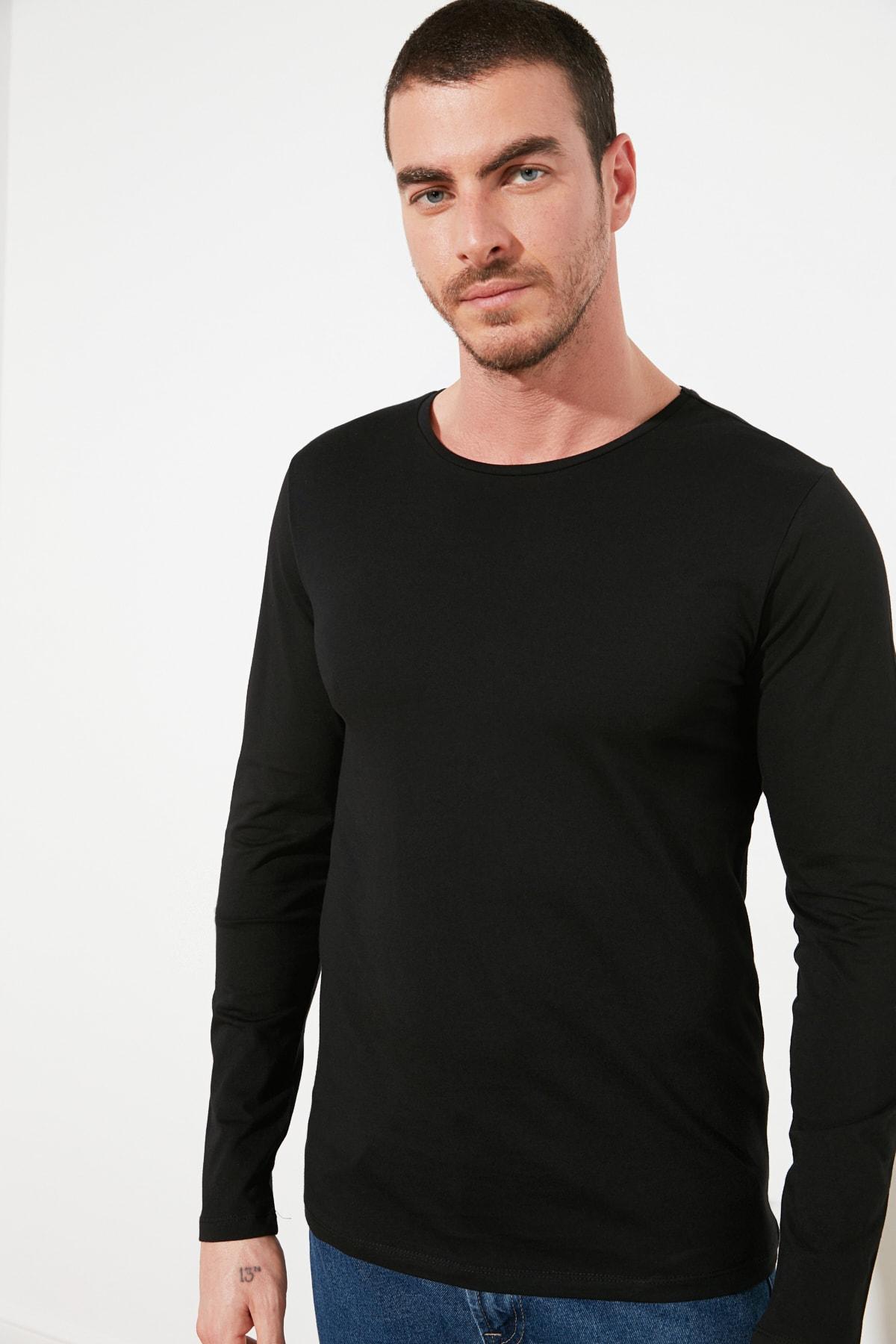 TRENDYOL MAN Siyah Erkek Regular Fit Bisiklet Yaka Uzun Kollu Basic T-Shirt TMNAW21TS0208 1