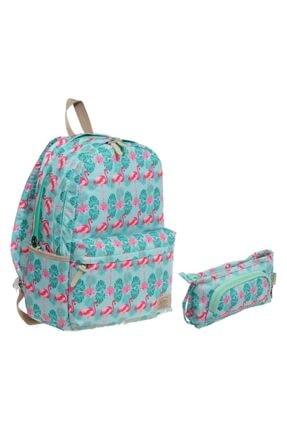 KAUKKO Flamingo Kız Çocuk Ilkokul Ve Ortaokul Çanta Mint