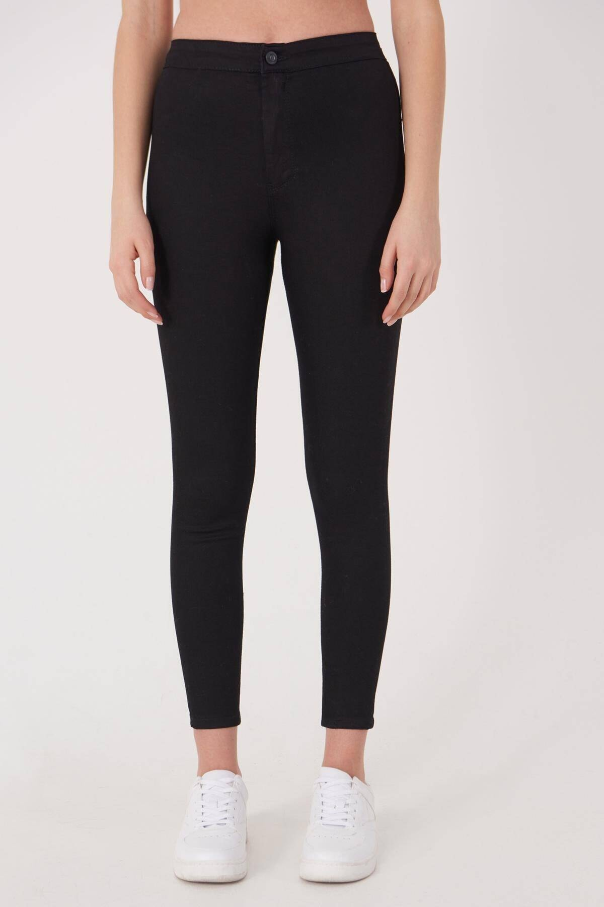 Addax Kadın Siyah Yüksek Bel Pantolon Pn10915 - G8Pnn Adx-0000013630 1