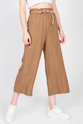 Addax Kadın Kahve Bağcık Detaylı Bol Pantolon Pn70540 - I6 ADX-0000018125