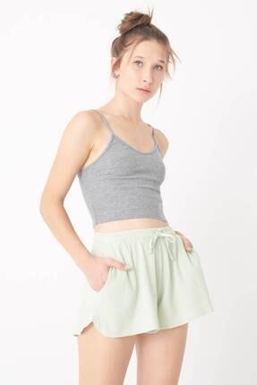 Addax Kadın Gri Melanj Ince Askılı Atlet A0936 - F4 ADX-0000022285