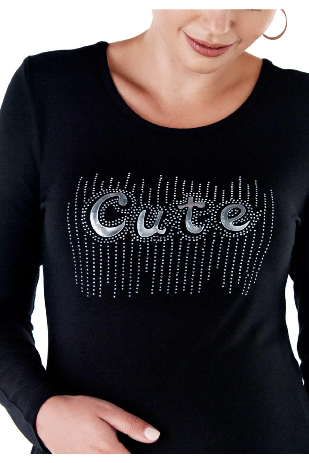 Ebru Maternity Kadın Siyah Baskılı Hamile T-Shirt 2