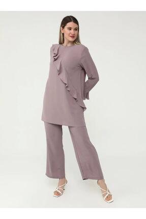 ALİA Kadın Mor Büyük Beden Beli Lastikli Geniş Paça Pantolon