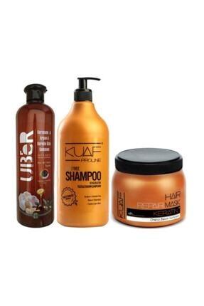 Kuaf Tuzsuz Şampuan 1 L / 1000 Ml + Keratin Maskesi 500 Ml + Uber Argan Özlü Şampuan 700ml