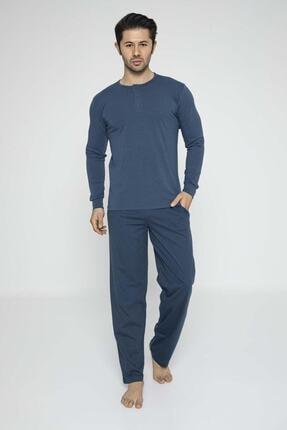 Aydoğan Erkek Mavi Modal Uzun Kollu Pijama Takımı