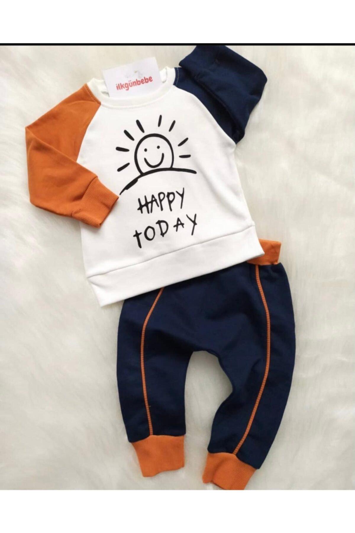 Beren Kids Happy Today Desenli Bebek Alt Üst Takım 1
