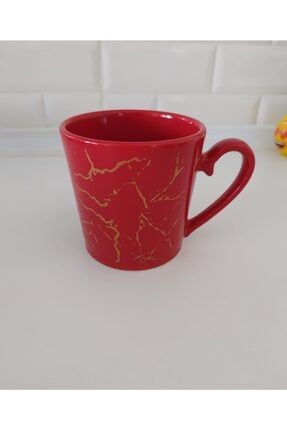 Keramika 8 Cm Mermer Desen Kırmızı Kupa