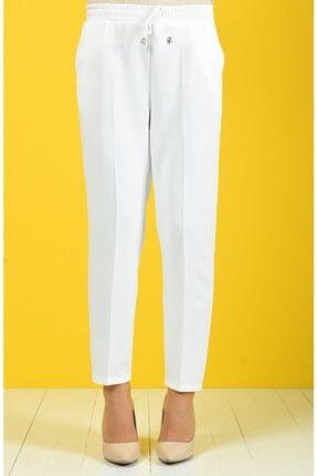 Essah Moda Kadın Beyaz Lastikli Havuç Pantolon - Me000274