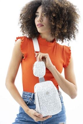 United Colors of Benetton Kadın Beyaz Gümüş Vücut Çantası Bnt390
