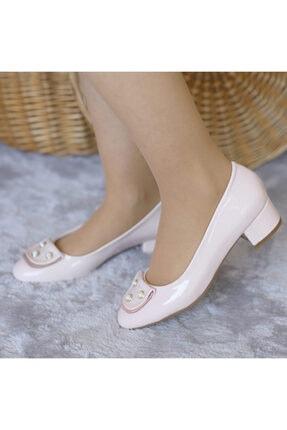 PUNTO Kadın Pudra Rugan Taşlı Yumurta Topuk Ayakkabı