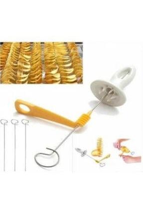 İndiriminVar 2 Adet Spiral Şişte Patates Cipsi Kesici Dilimleyici Cips Yapma Aleti