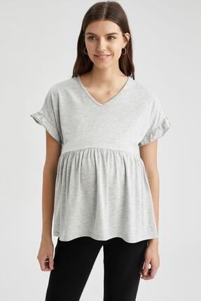 DeFacto Kadın Gri Volan Detaylı Kısa Kollu Hamile T-Shirt
