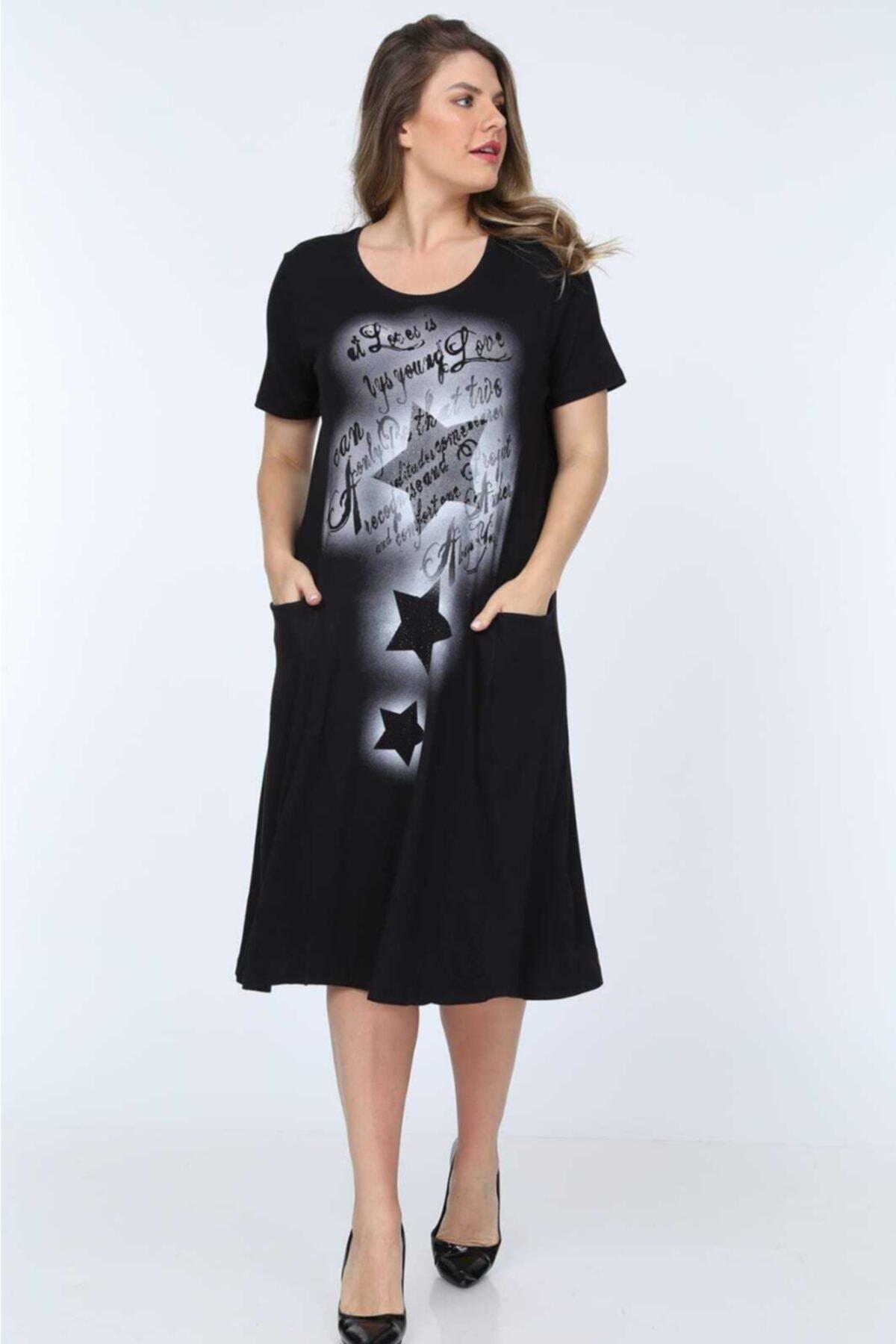 RMG Kadın Siyah Kısa Kol Cepli Elbise 1