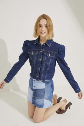 adL Kadın Mavi Önden Düğmeli Mini Jean Etek