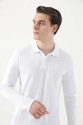 D'S Damat Regular Fit Beyaz Pike Dokulu T-shirt